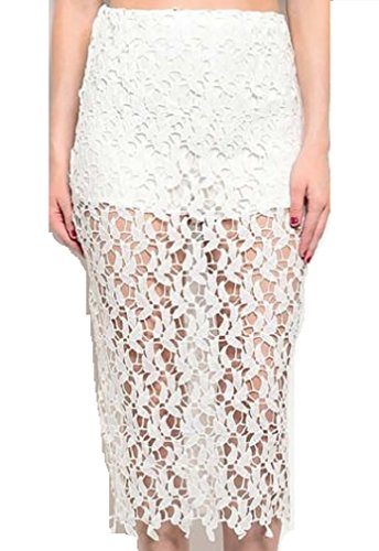 Moa Collection White Lace Mid Length Pencil Skirt (Small)