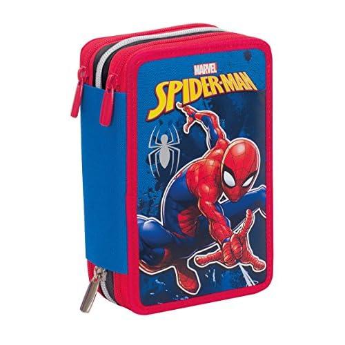 Astuccio 3 Zip Marvel Spider-Man, Rosso Blu, Con materiale scolastico: 18 pennarelli e 18 pastelli Giotto, penna Tratto Cancellik...