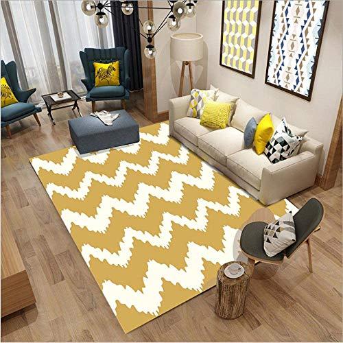 showyow Alfombra moderna antideslizante para sala de estar, lavable, color marrón, beige, líneas onduladas abstractas de 120 x 160 cm