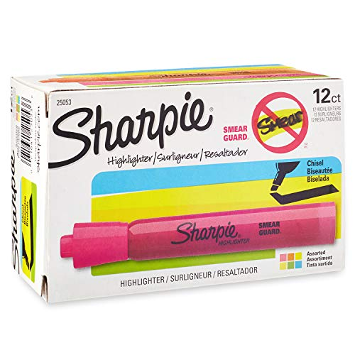 Sharpie Tank Highlighters Assorted Colors, Chisel Tip Highlighter Pens, 12 Count