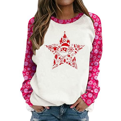 Tekaopuer Top de Navidad para mujer, suéter de manga larga impreso, suéter suelto casual con estampado de Navidad para mujer, rosso, L