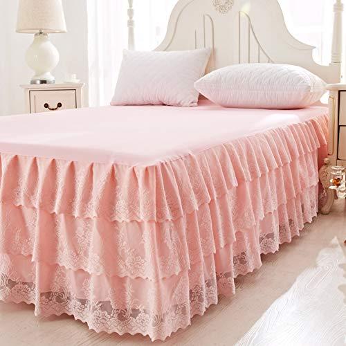 Spitze Bett Rock, Bett Volant Bestickt Tagesdecke Mit rüschen Hotel qualität Faltenresistent und ausbleichen beständig-Apfelsine 1.5x2m+2 x Kissenbezug