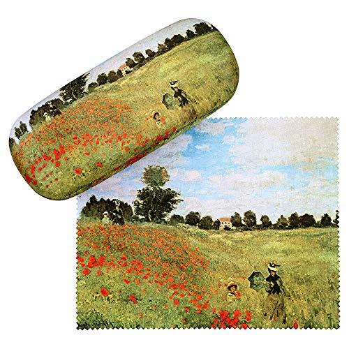 VON LILIENFELD Brillenetui Claude Monet: Mohnblumenfeld Blumen Kunst Brillenputztuch Brillenbox Stabiles Hardcase Set mit Putztuch