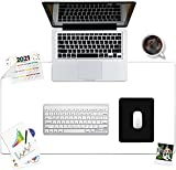 Awnour Clear Desk Pad Mat Blotter - 34 x 17 inches - 1.5mm Thick - Plastic Transparent Desk Mat for Desktop - Clear Table Cover Protector on top of desks -
