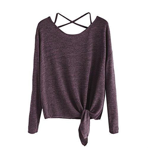 ESAILQ Frauen Casual Solid Crisscross Zurück Knot Half Sleeve Bluse T-Shirt (L, Wein)