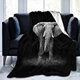 HANKCLES Elephant Throw Blanket Animal Bedding Blanket Super Soft Cozy Fleece Plush Reversible Blanket Size for Baby Adults Couch Sofa 50x60 Inch