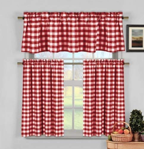 COLIBROX Wine Red White Gingham Checkered Plaid Kitchen Tier Curtain Valance Set Duck River
