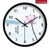 Reloj De Pared Silencioso No Tick Tack Ruido Reloj De Pared De Cuarzo Para Sala Reloj Creativo Reloj De Pared De Sala De Estar Magnífico Lotus Mute Reloj De Cuarzo Práctico,10 Pulgadas,Violeta