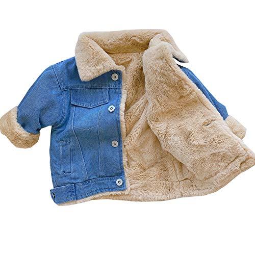 Moru Infant Baby Toddler Girl Boy Winter Casual Thick Fleece Lined Denim Jacket Warm Jean Coat Outwear (Blue, 2-3T)