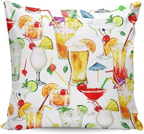 MODORSAN Almohada Cuadrada Bebidas de Colores Cerveza Frutas Fundas de Almohada Decorativas Lino de algodón 18'X 18'