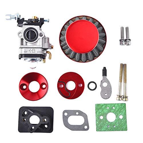 15mm Carburetor Upgrade Kit Air Filter Set Compatible with 2 Stroke 43cc 47cc 49cc Standup Gas Scooter ATV Quad Pocket Bike X-TREME XG-550 BladeZ Moby X Red