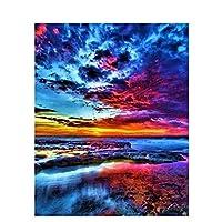 数字で描くDIY油絵数字で描く海景フレームキャンバスに数字で描く風景デジタル絵画16x20インチB