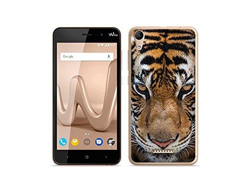 etuo Handyhülle für Wiko Lenny 4 - Hülle Foto Hülle - Blick von Tiger - Handyhülle Schutzhülle Etui Hülle Cover Tasche für Handy