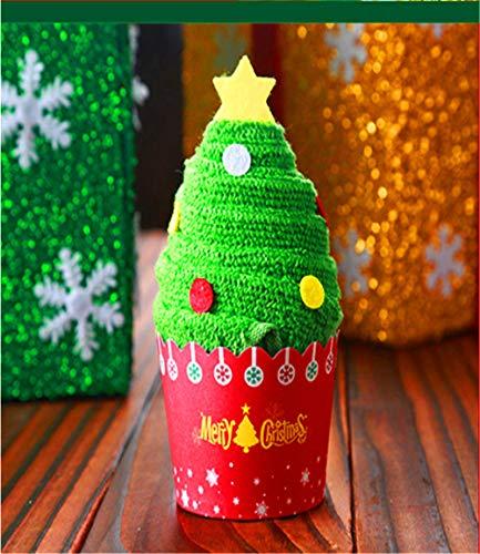 GLLCYL Baumwoll Geschirrtücher Weiß ,Kreative Kuchen Handtücher Weihnachtsbaum Weihnachtsmann Handtuch Kindergarten Events Weihnachtspuppen Werbegeschenk Handtücher - Weihnachtsbaum