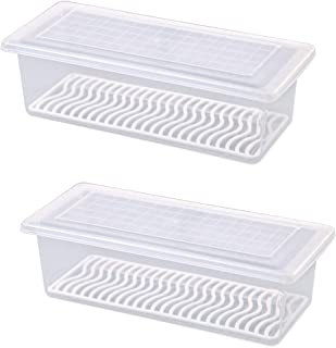 AIWANTO Food Storage Container Space Saver Refrigerator Organizer Keeper with Removable Drain Tray To Keep Fresh for Fruit...