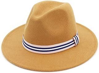WUNONG-AU 2019 Men's and Women's Autumn and Winter Fedora Hat Couple Dating Outdoor Humboldt Travel Woolen Hat Wide Side Jazz Cap (Color : Beige, Size : 56-58)