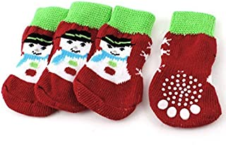 eDealMax Paw Snowman Stampa lavoro a Maglia Elastico Pet Dog Socks (2 coppie),