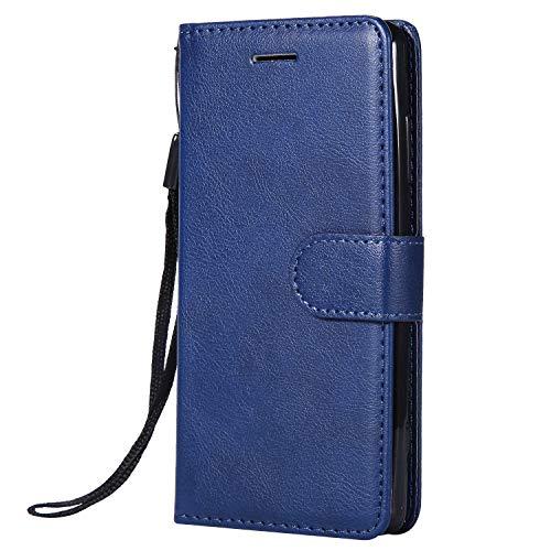 Jeewi Coque pour Sony [Xperia XZ2 Compact] Prime PU Cuir Flip Folio Housse Étui Cover Case Wallet Portefeuille Support Dragonne Fermeture Magnétique pour Xperia XZ2 Compact - JEKT051728 Bleu