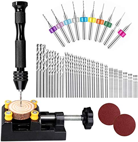 62 Pieces Pin Vises Hand Drill Bits, Micro mini Twist Drill Bits Set Pin Vice Rotary Tools with Carving Clamp for Craft Carving, DIY, Woodworking, Plastic, Jewelry or Model Making (0.3-3.0mm)