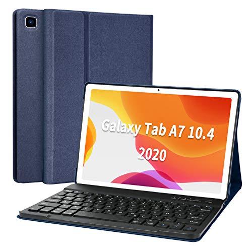 Tastatur Hülle für Samsung Galaxy Tab A7 10.4'' 2020 (SM-T500/T505/T507), Superdünn leicht Schutzhülle mit magnetisch Abnehmbarer drahtloser Deutscher QWERTZ Bluetooth Tastatur (Dark Blue)