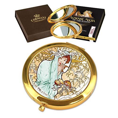 CARMANI - Plaqué Or Bronze poche, compact, Voyage, Miroir décoré avec de la peinture de Mucha 'Hiver'
