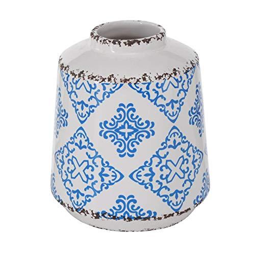 Florero de gres mediterráneo, azul y blanco, con patrón de iles, 12 cm de altura