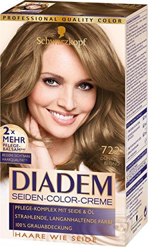 Schwarzkopf Diadem Seiden-Color-Creme, dauerhafte Haar-Coloration, 722 Dunkelblond Stufe 3, 3er Pack (3 x 180 ml)