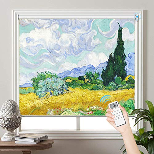 PASSENGER PIGEON Motorized Window Blinds, Wheat Field with Cypresses, by Vincent Van Goah, Blackout Patterned Roller Shades with Valance, Light Filtering Cordless Shades for Windows, Doors