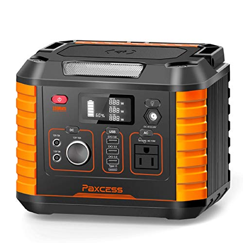 Portable Camping Generator, 330W/78000mAh Portable Power Station, CPAP Battery Power Supply,Solar Generator with110V AC, 12V/10A DC,QC3.0 &TypeC, Wireless Charger,SOS Light for Travel Home Emergency