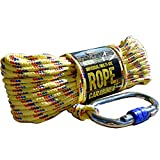 CactusBloom Rope and Locking Carabiner Clip – 65 feet / 20 Meters Strong Braided Cord for Boat Docking, Magnet Fishing, Outdoor, Survival, Hoisting, Climbing, Rescue, Anchor, Lift, Camping
