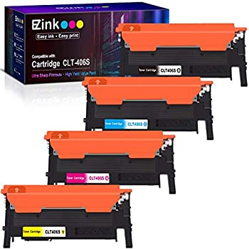 E-Z Ink  TM  Compatible Toner Cartridge Replacement for Samsung 406 406S CLT-K406S CLT-C406S CLT-M406S CLT-Y406S to use with Xpress C460W C410W  1 Black 1 Cyan 1 Magenta 1 Yellow 4 Pack