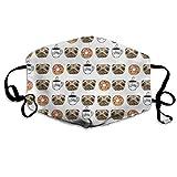 Lustige Hunde Mops Welpen Donut Kaffee Muster Wiederverwendbare Bequeme atmungsaktive Anti Staub Outdoor Half Face Masken waschbar warme Winddichte Gesichtsmasken
