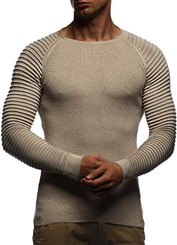 LEIF NELSON Herren Strickpullover Basic Rundhals Crew Neck Sweatshirt Langarm Sweater Feinstrick LN20729, Größe L, Beige