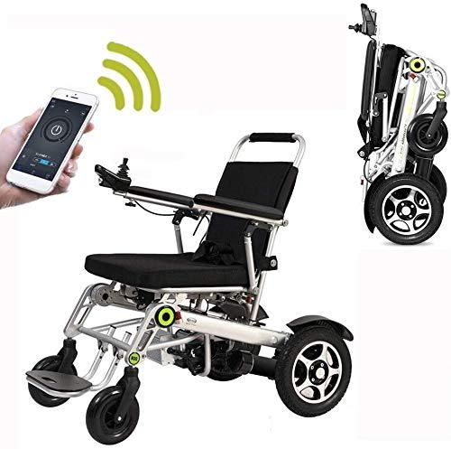 Yuzhonghua Sillas de Ruedas eléctricas de Movilidad, Control Remoto de la aplicación Scooters Ancianos portátiles Plegables, Pueden soportar 150 Kg
