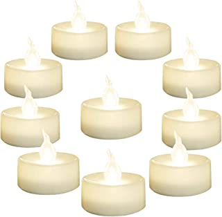 Homemory LED Candles, Lasts 2X Longer, Realistic Tea Lights Candles, LED Tea Lights, Flickering Bright Tealights, Battery Operated/Powered, Flameless Candles, White Base, Batteries Included, Set of 24