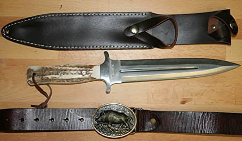 PARFORCE Boar Hunter - Set mit Messer, Lederscheide, Ledergürtel und Schnalle mit Keilermotiv - rostfrei