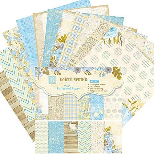 Haodene Papel Estampado Patrón 24 Hojas De Paper Decorativas Pack Scrapbooking Estampado Flores Románticas Vintage para DIY Paper Decorativa Manualidades - PA1510