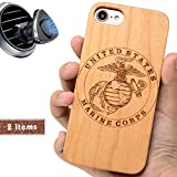 iProductsUS Military Phone Case Compatible with iPhone SE (2020), iPhone 8 7 6/6S and Magnetic Mount, Wood Cases Engraved US Marines, Built-in Metal Plate, TPU Rubber Protective Covers (4.7')