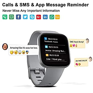 FITVII Smart Watch, Fitness Tracker with IP68 Waterproof Watches, Blood Pressure Heart Rate Monitor with Running Pedometer Step Counter Sleep Fitness Smart Watch for Men Women with iPhone & Android
