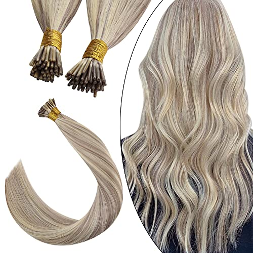Ugeat 14 Inch I Tip Pre Bonded Hair Extensions Human Hair 50Strands Ash Blonde Highlight Bleach Blonde 40Gram Remy...