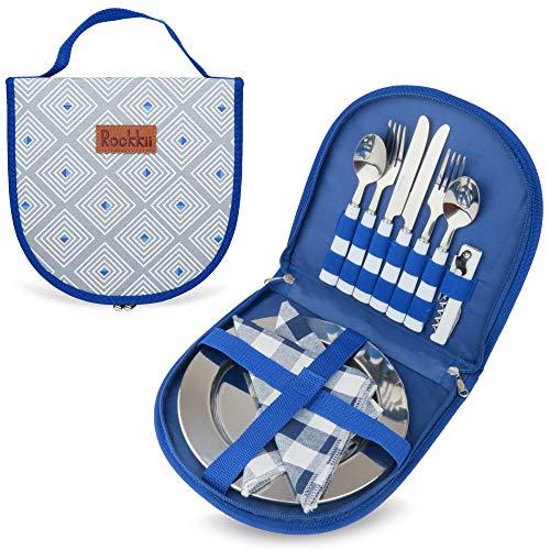 Camping Besteck-Set mit Tasche, 11-teiliges Camping-Set mit Edelstahl-Teller, Picknick-Set für 2, Reise-Salbergeschirr-Set, Campingutensilien zum Essen, tragbares Besteck-Set mit SS Besteck