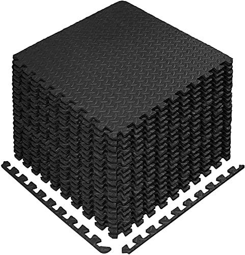 Esterilla Puzzle para Suelos de Gimnasio y Fitness, 60x60 Set de Protección de Goma Espuma, Alfombrilla Protectora Expandible + Bordes | Colchonetas para Máquinas de Deporte (48 unidades)