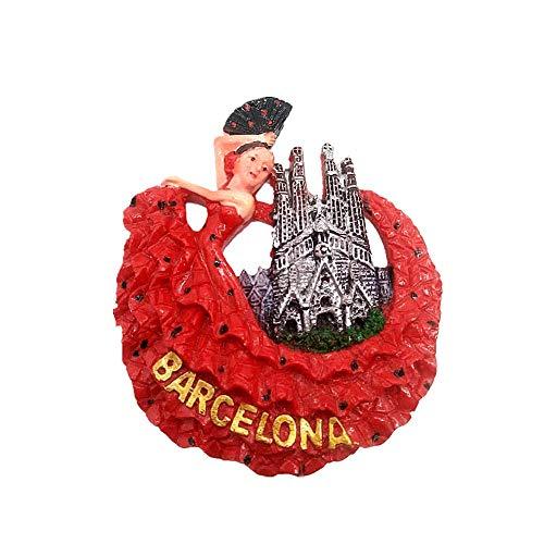 Imán 3D para nevera con diseño de bailarines de flamenco de Barcelona...