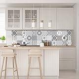 30 Stickers muraux Cuisine - Sticker Mural - Carreaux de Ciment adhésif Mural - Stickers Muraux azulejos - Sticker Carrelage adhesif Mural Salle de Bain 10 x 10 cm - 30 PCS Carreau de Ciment adhesif