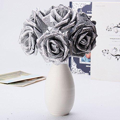 Tutoy 7ST Kunst Bouquet Glitzer Schaum Kunstblumen Hochzeit Hochzeits Party Dekor DIY Rose - Silber