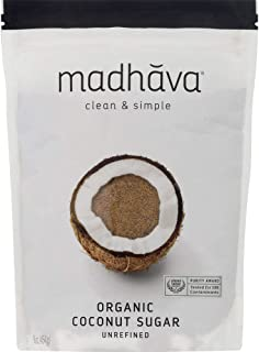 Madhava Naturally Sweet Organic Pure & Unrefined Coconut Sugar, 16 Ounce (Pack of 6)