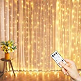 Remote Control 300 Led Curtain String Lights, 9.8 Ft, 8 Modes Plug in Fairy String Light , Christmas Decorations, Backdrop for Indoor Outdoor Bedroom Window Wedding Party Decoration, Warm White