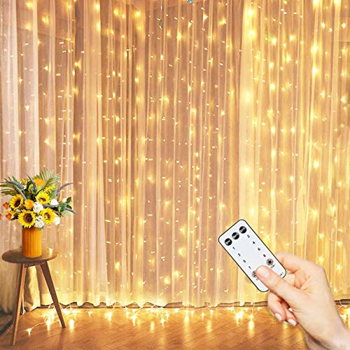 Curtain Lights with Remote, 10 FT Connectable String Lights for Bedroom Decor, 8 Twinkle Modes Fairy Lights Waterproof Outdoor String Lights for Wedding Decoration LED Backdrop Lights for Party Decor