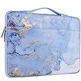 MOSISO Maletín Compatible con 13-13.3 Pulgadas MacBook Pro/MacBook Air/Computadora Portátil,Funda Blanda 360 Protectora Poliéster Acuarela Mármol con Cinturón,Azul