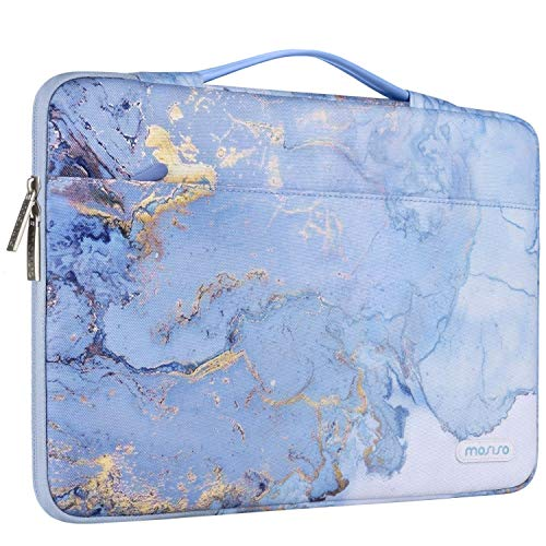 MOSISO 360 Protective Laptop Sleeve Compatible with 13-13.3 inch MacBook Pro, MacBook Air, Notebook Computer, Polyester Watercolor Marble Bag with Trolley Belt, Blue